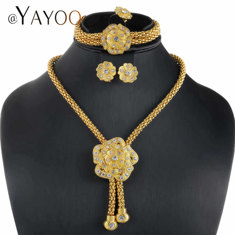 Ювелирные наборы для нигерийских женщин, серьги с кристаллами и ожерелье, набор золотых бусин, африканские большие свадебные комплекты ювелирных изделий, свадебные аксессуары