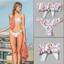 2019 HOT Sale Two Piece Floral Print Bandeau Bikini Set Swimwear Bathing Suit Beach Sexy Women Swimsuit With Tighten Female