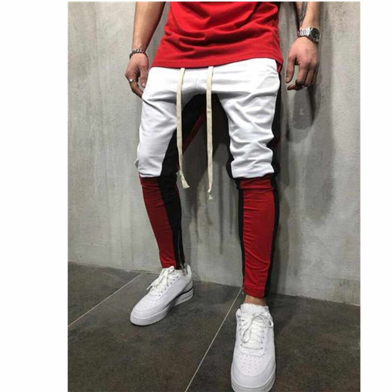 Men patchwork pants zipper pencil pants casual trousers men joggers sweatpants elastic waist cotton male trousers hip hop pants
