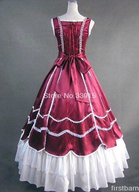 Victorien Lolita Robe Guerre Corset Rouge Gothique Sud De civile Costume Custom Bal Vintage Belle Vin Made qBUPTtxE