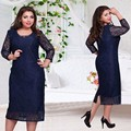 2017 New Designer Women Dress Lace Vestidos Patchwork Oversized Sexy Straight Casual Full Sleeve Mid Calf Autumn Dresses Party