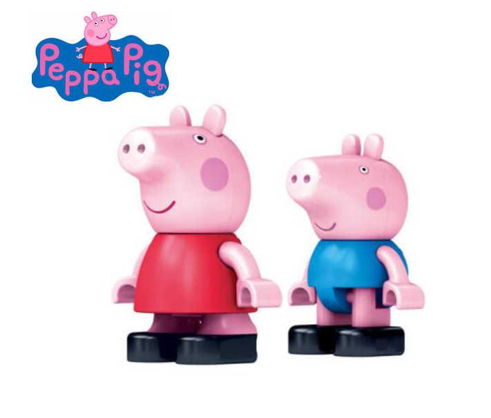6 pçs/set genuína peppa pig figura-banbao peppa grunge doces rebecca avô avó coletar construir compatível com legoe