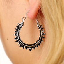 VAROLEV Circle Retro Alloy Earrings Carved Ethnic Wind Round Palace Vintage Earrings 4460