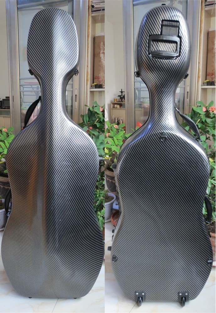 Composite Carbon fiber Cello Case 4//4  in white color,Free Shipping