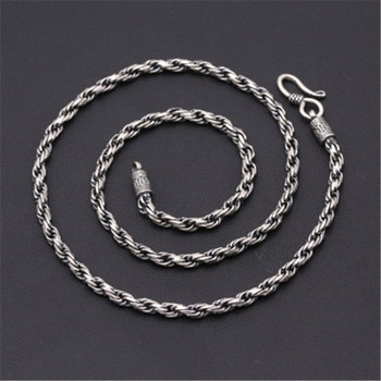 4mm 100% Pure 925 Sterling Silver Hand-Woven Twisted Vine Personalized Chain Necklace for Men Accessories