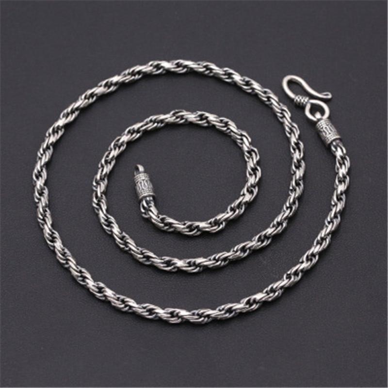 4mm 100% pur 925 argent Sterling tissé à la main torsadé vigne collier personnalisé chaîne pour hommes accessoires