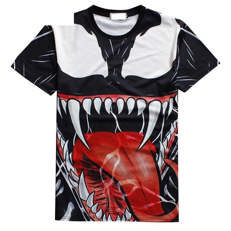 Hip Hop 3D T-skjorte Venom Print Casual Tee Top Harajuku Punk - Herreklær