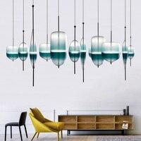 Nordic Fashion led Pendant Light Postmodern Restaurant Pendant Lamp Exhibition Hall Sample Room Blue Gradient Glass Pendant Lamp