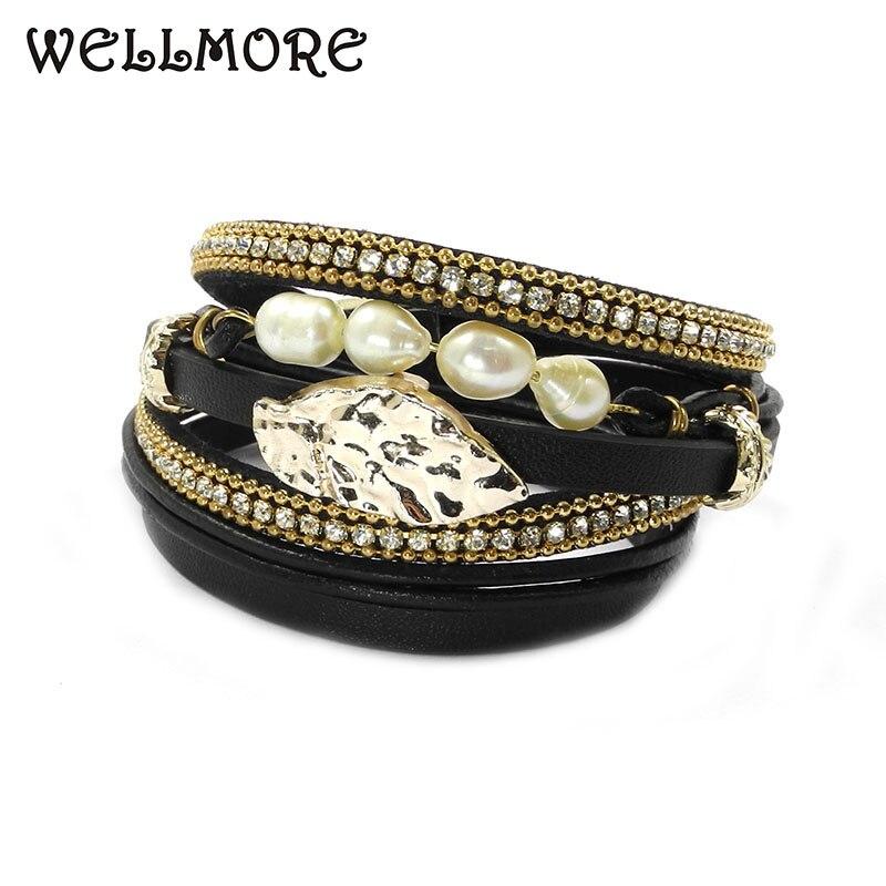 wellmore black leather bracelets ,Freshwater pearl ,wrap bracelets Bohemian bracelets for women jewelry wholesale цена 2017