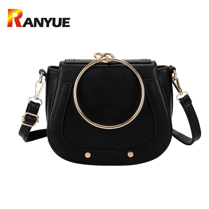Luxury Brand Women Bags Designer Handbags High Quality Pu Leather Metal Ring Handle Small Women Shoulder