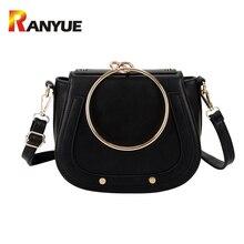 Luxus Marke Frauen Taschen Designer-handtaschen Hohe Qualität Pu-leder Metall Ring Griff Kleine Frauen Schulter Crossbody Taschen Sattel
