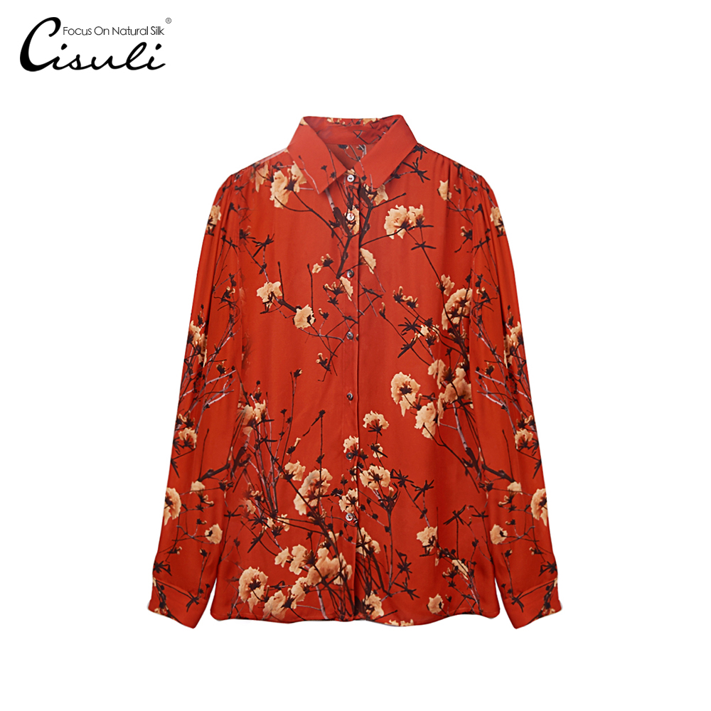 100% mûrier soie Blouses/eté femme soie chemise/Style Vintage pour nouvel an/imprimé rouge hauts/chemise femme manches longues/Plus 5XL