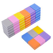 50pcs Mixed Color Mini Sponge Nail File 100/180 Double Sided Sanding Buffer Block Files For Women Manicure Care Tools Set