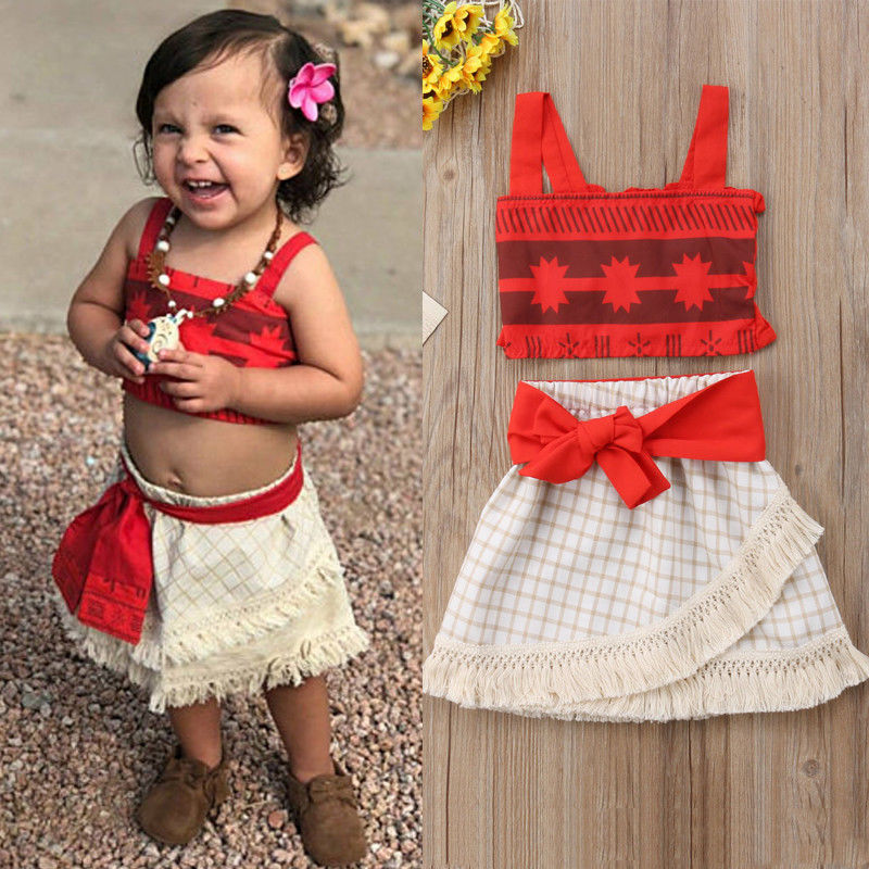 Toddler Girls Kids Baby Moana Cosplay Costume Top+Skirt Fancy Dress Halloween Necklace