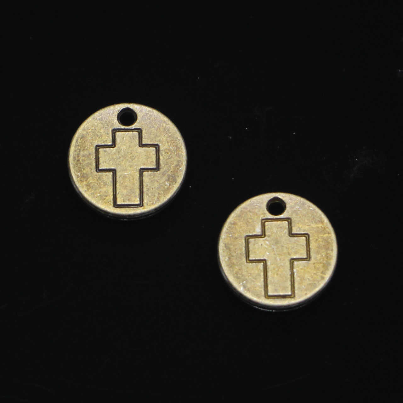120pcs Antique Bronze Plated cross Charms for Jewelry Making DIY Handmade Pendants 15mm