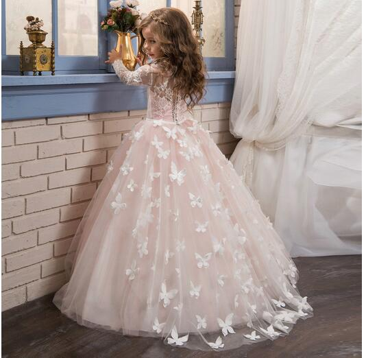 все цены на Girl's Long Formal Dress 2017 Long Sleeve Girls Princess Dresses Kids Lace Gauze Party Butterfly tutu Gowns Children's Dancewear