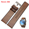 24mm brown retro Watch Band  High quality Genuine Leather Strap with Stainless Steel Buckle for DZ