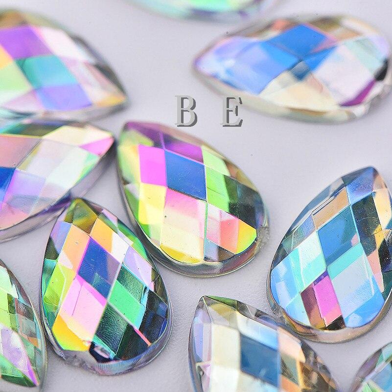 1000pcs/lot Water Drop Shape Crystal AB Color Rhinestones Gems 8X13mm Flatback No Holes For Dress Shoe DIY Craft Accessary