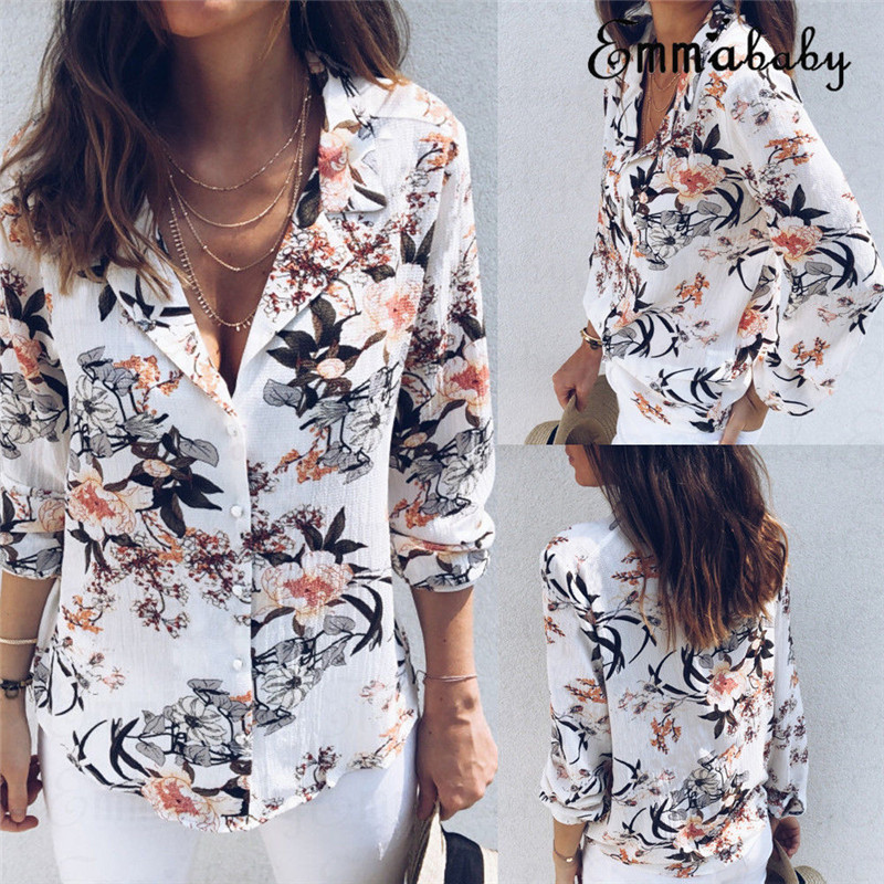 New Floral Long Sleeve Vintage Blouse Floral Turn Down Collar Shirt Blusas Feminino Ladies Blouses Womens Tops 2018 Fashion
