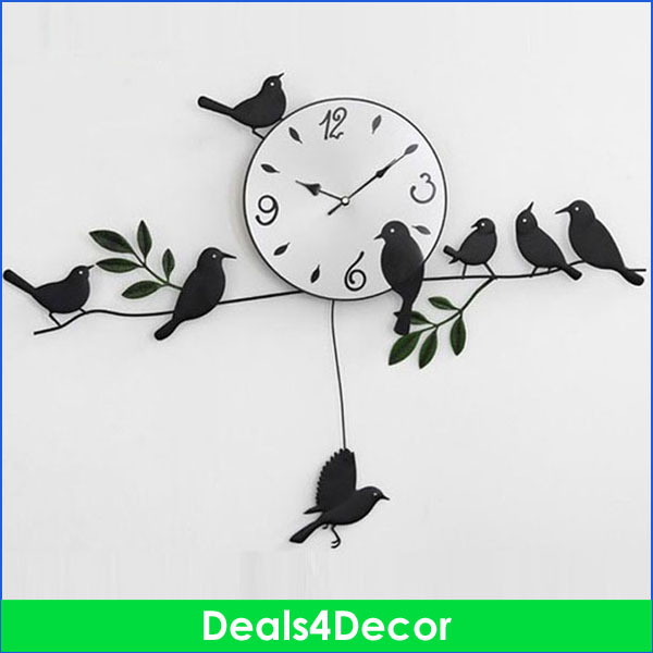 100% Mute Silent Bird Wall Clock Home Decoation, Large Black Decorative Clock, DIY Big Numeral Art - Deals4decor store
