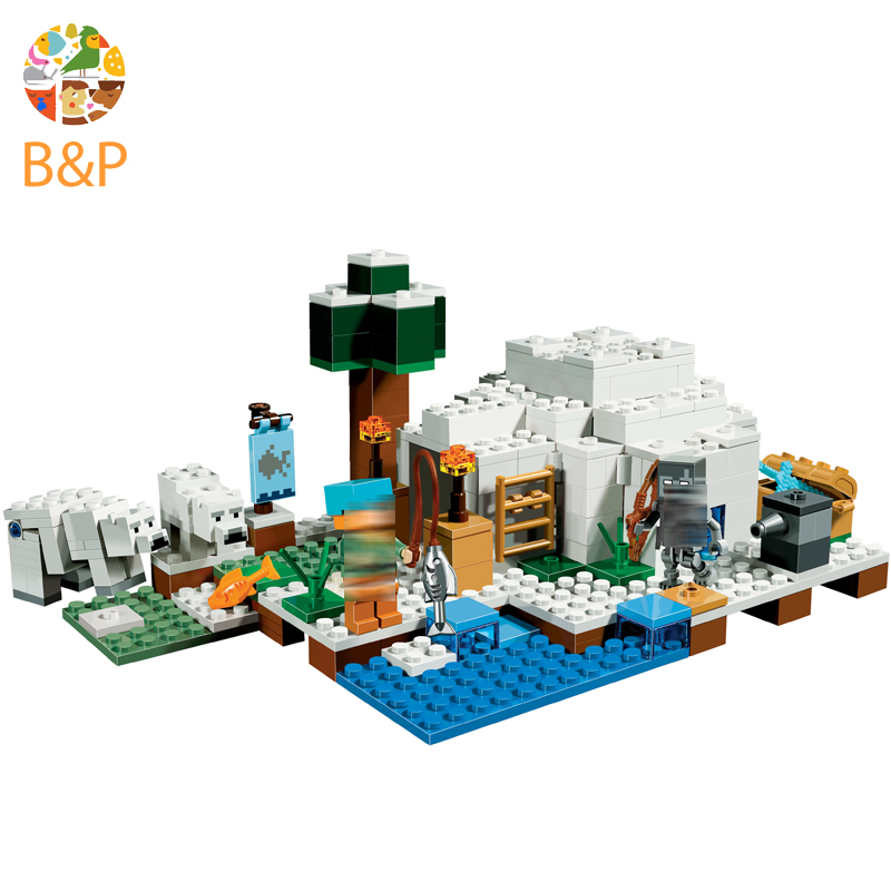 legoing 21142 284pcs My worlds Series The Polar Dome Igloo Model Building Block Brick Toys For Children Miniecraft 10811 Gift