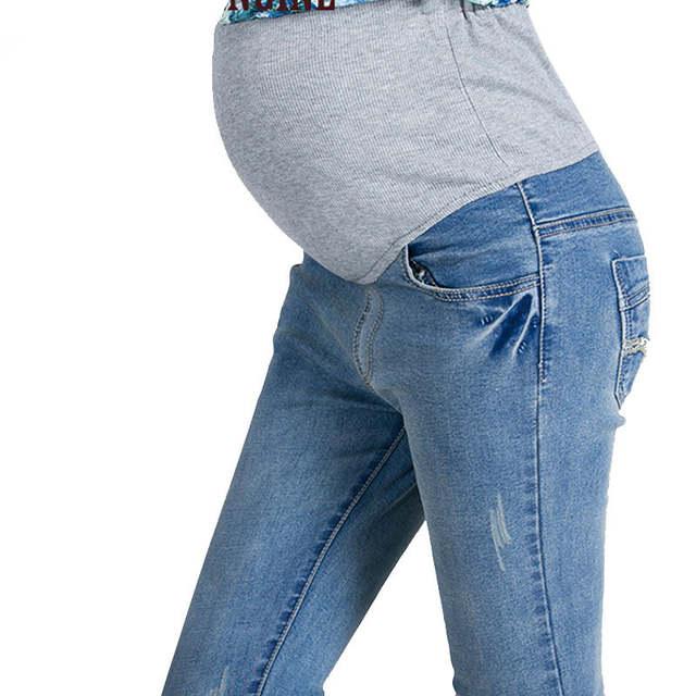 d5cc3fc6a placeholder ZTOV Denim maternidad pantalones vaqueros talla grande cintura  elástica pantalones largos pantalones para mujeres embarazadas ropa