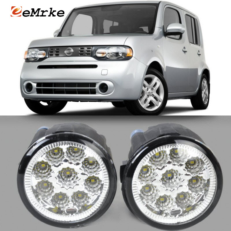 EEMRKE For Nissan Cube 2010-2015 9-Pieces Led Halogen Fog Lights 12V 55W Fog Head Lamp Car-Styling nissan cube 2010