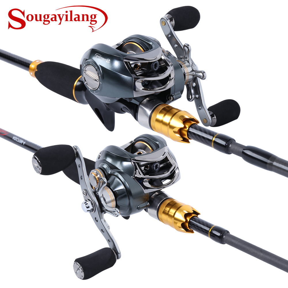 Sougayilang Lure Fishing Rod and Baitcasting Reel 4 Sections Carbon Spinning Lure Rod and Casting Fishing