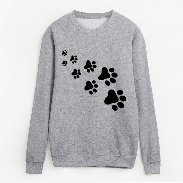 women Casual fleece hip hop tracksuits femme 2018 kawaii cat paws print sweatshirts fashion streetwear hoodies pullovers S-XXL