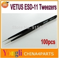 Free shipping !!!  100pcs Vetus ESD-11 High Quality Anti Static Tweezers ESD 11 Stainless Steel Tweezers