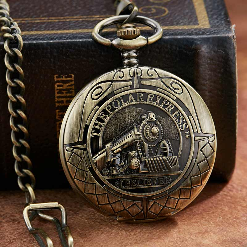Retro Mechanical Pocket Watch The Polar Express Design Roman Numerals Bronze Hollow Skeleton Mens Mechanical Pocket Watch Chain
