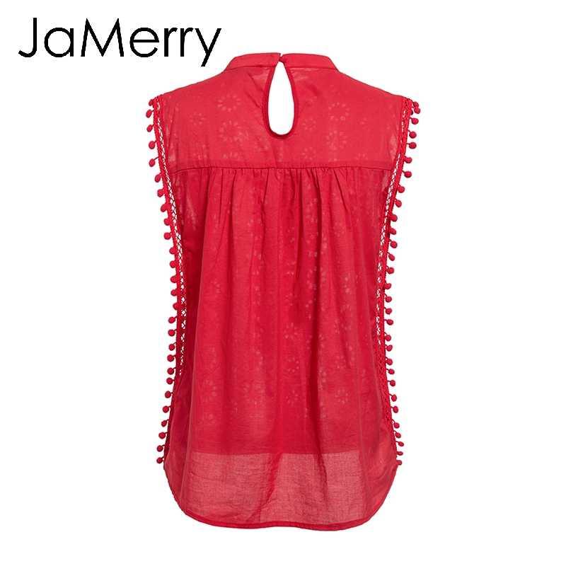 JaMerry Vintage zarif dantel tank top kadınlar Nakış kırmızı camiş gömlek feminina Seksi tankları tasssel pom pom üst kadın streetwear