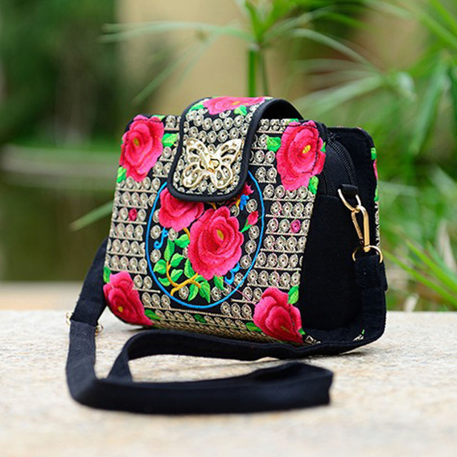 Women Sling Bag Ethnic Vintage Embroidered Canvas Cover Shoulder Messenger Bags 2