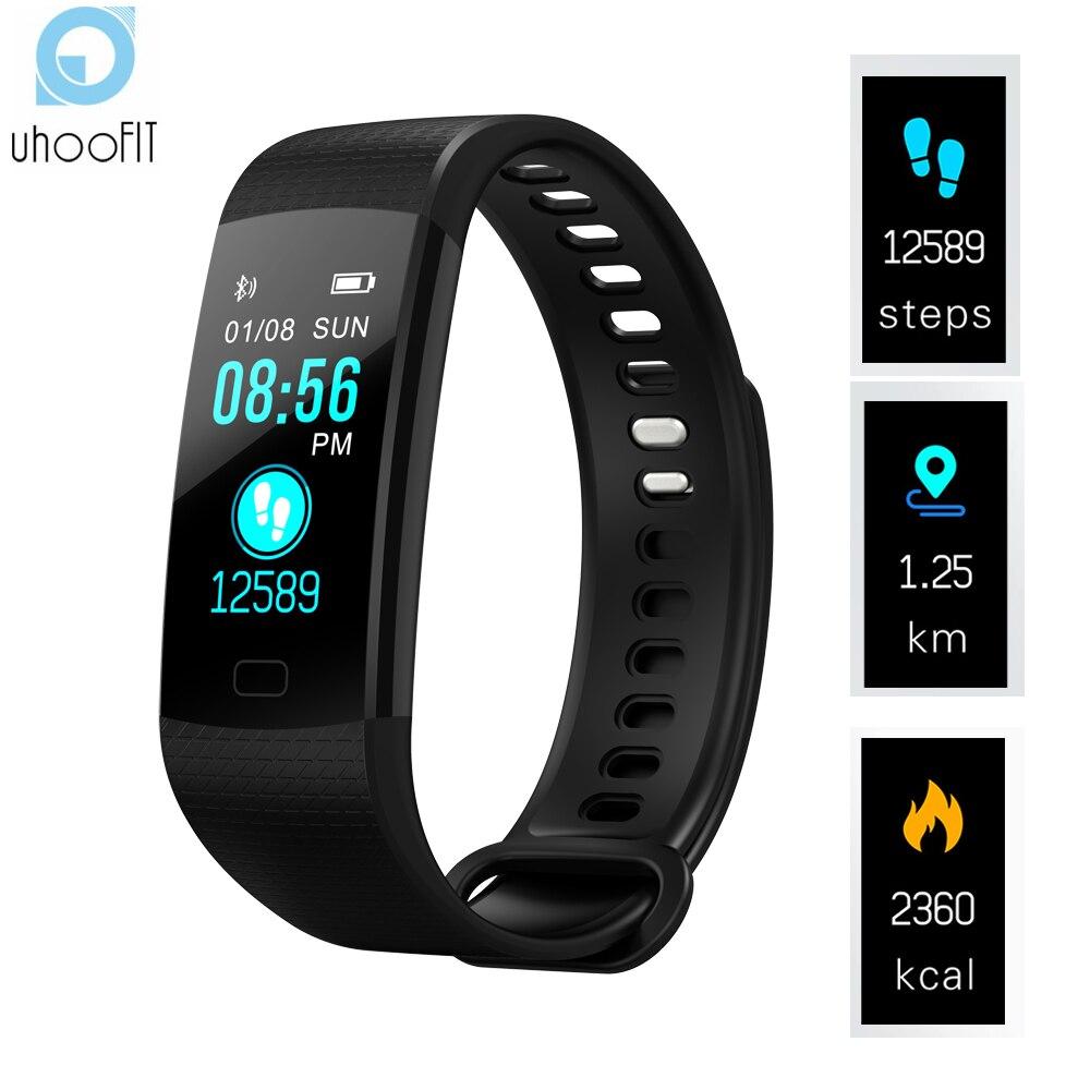 Uhoofit inteligente podómetro muñequera banda inteligente presión arterial Monitor de frecuencia cardíaca Fitness pulsera rastreador de actividad para IOS reloj