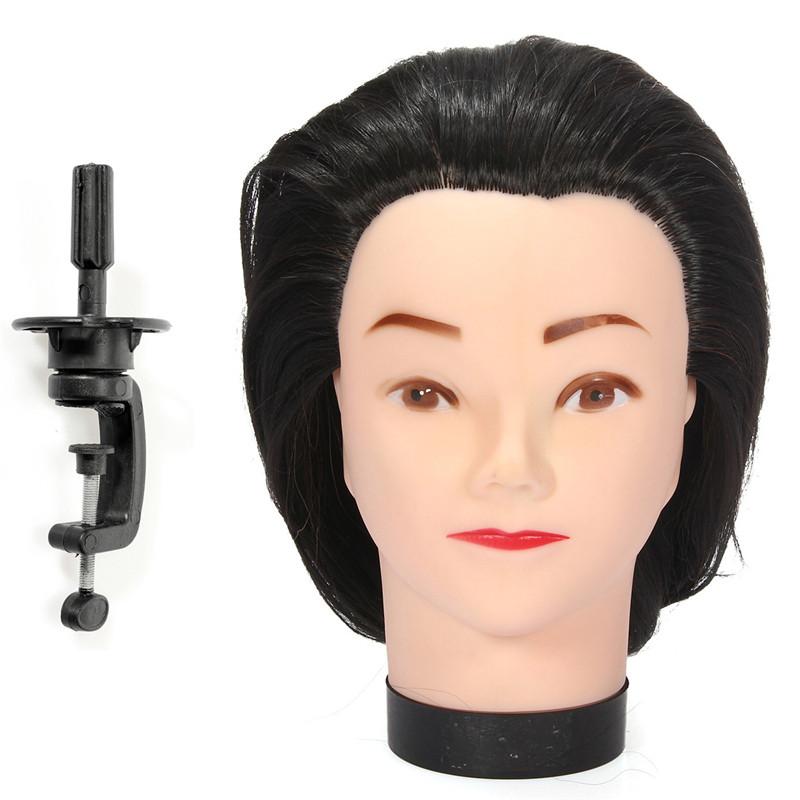 nuevo unid maniqu peluquera corte del pelo de pulgadas de largo negro modelo de