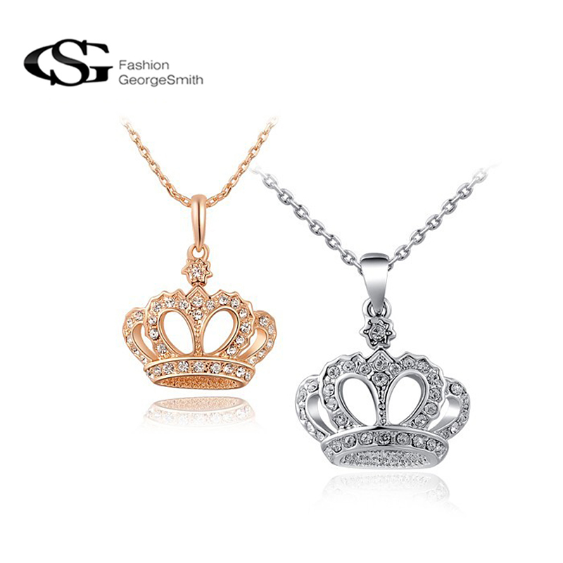 Gs necklaces pendants crown pendant necklace women jewelry for Costume jewelry for evening gowns