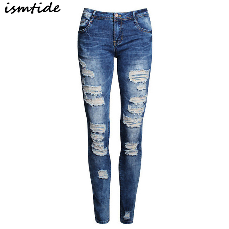 Hole Ripped Jeans Women Hole Ripped Jeans Stretch Mid Waist Skinny Pencil Jeans Female Pants Denim Vintage Casual Trousers boyfriend hole ripped jeans women pants cool denim vintage stretch jeans mid waist casual pencil pants female