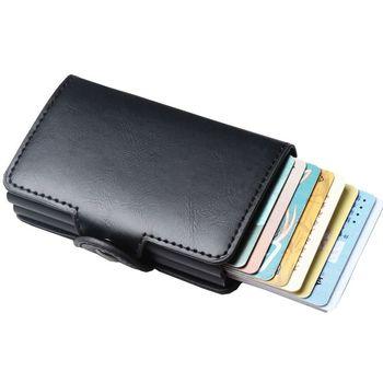 남자 비즈니스 신용 카드 홀더 지갑 unisex 더블 금속 차단 rfid 지갑 id 카드 케이스 알루미늄 여행 지갑