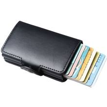 Men Business Credit Card Holder Wallet Unisex double Metal Blocking RFID Wallet ID Card Case Aluminium Travel Purse(China)