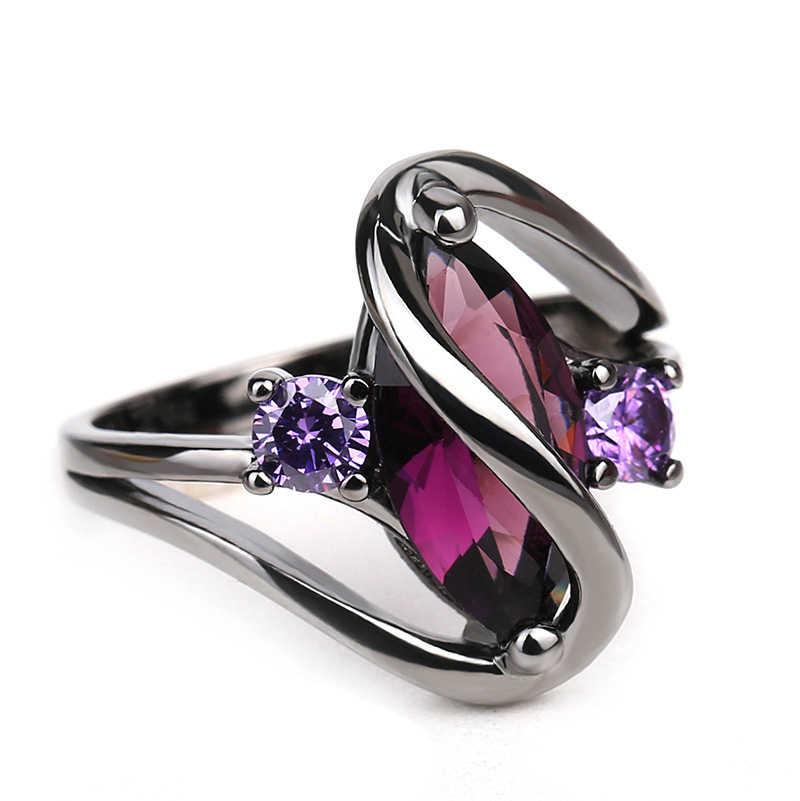 925 แฟชั่นแหวนเงินผู้หญิง Bright สีดำแหวนหินสีม่วงคริสตัลแหวนเครื่องประดับ
