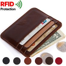 Credit Card Holder Wallet For Credit Cards Id Card Wallet Rfid Wallet Card Holder Leather minimalist wallet Father's Day gift(China)