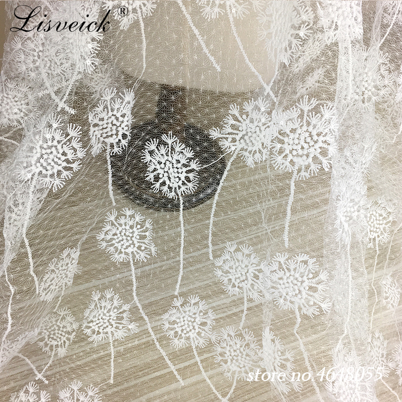 1yard Dandelion flower sequins Embroidery Lace Fabric Width 125CM Wedding Dress DIY skirt Clothing Accessories in Fabric from Home Garden