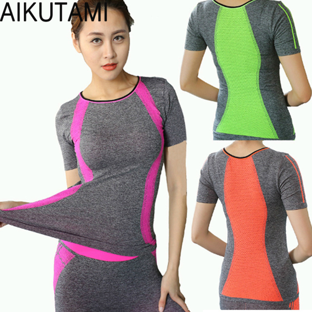 ab96fec37 New Design Yoga Shirt Women Sport T-Shirts Fitness Quick Dry Running Short  Sleeve Gym Workout Yoga Top Compression Tights M/L/XL
