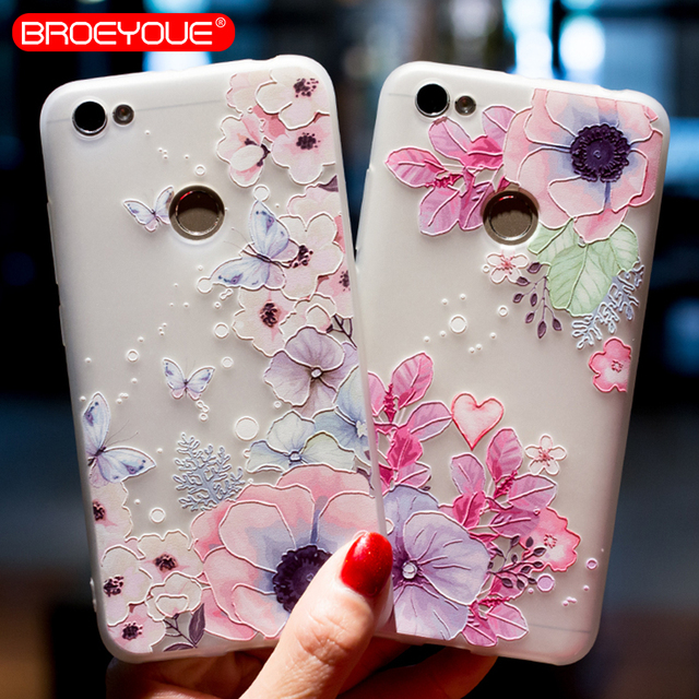 finest selection 806ad 5f214 US $0.97 30% OFF BROEYOUE Case For Xiaomi Redmi Note 5 Pro 5A 5 Plus 4 Pro  Cases 3D Relief Flower Soft Silicone TPU Matte Cover For Xiaomi 6X -in ...