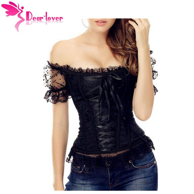 Dear-Lover Sexy Adult 9 Steel Bones Lace Up Off the Shoulder Brocade Corset With Short Puff Sleeve Overbust Bustier Tops LC5410