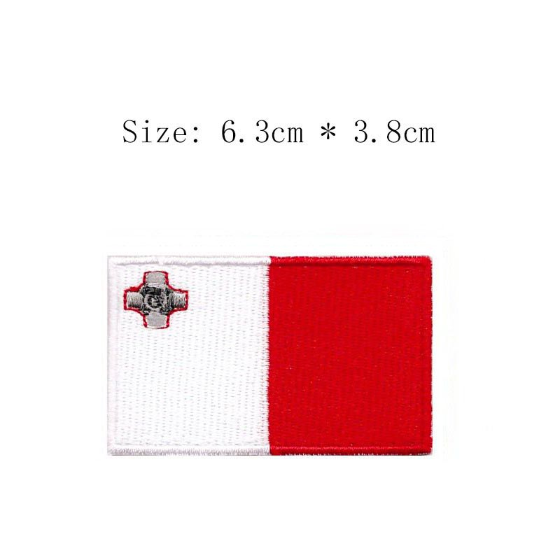 """1/"""" x 2/"""" inch Standard Full Color Flag of Malta Iron on Sew on Patch"""