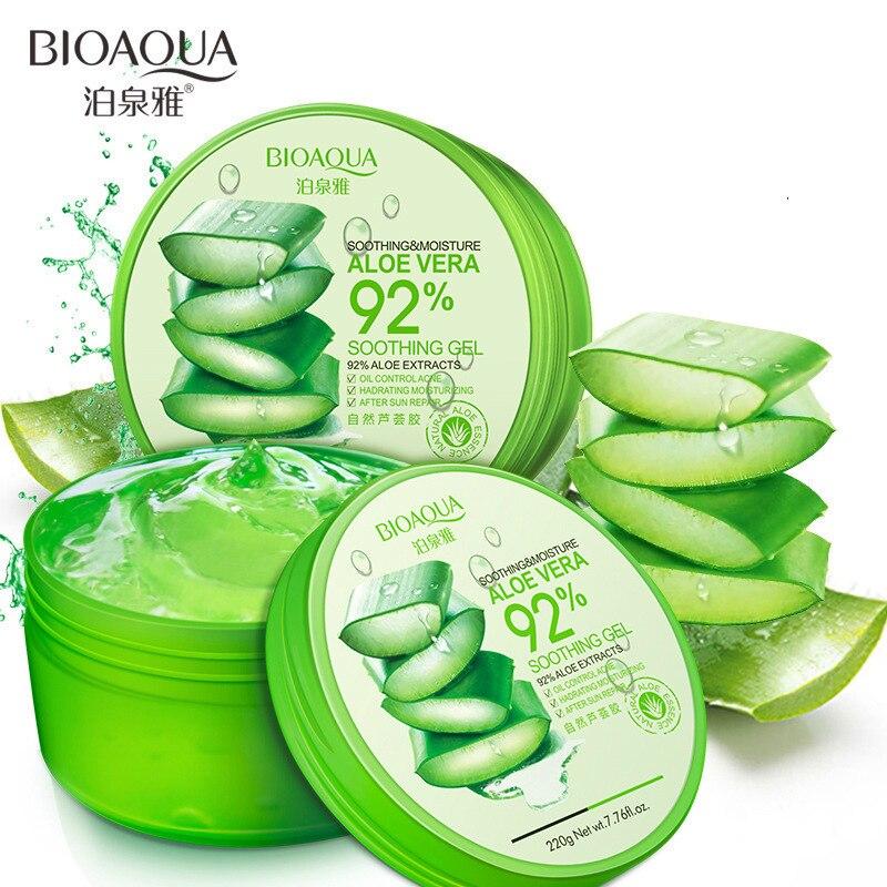 BIOAQUA 220g Natural aloe vera Gel suave tratamiento del acné crema para la cara hidratante reparación húmeda después del sol
