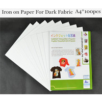 A4 100pcs Iron On Dark Inkjet Heat Transfer Paper For TextilI Ron On Papel For