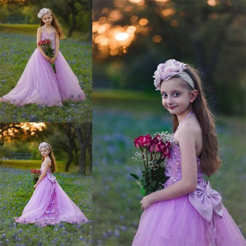 Lovely Halter Light Purple Flower Girl Dress with Beading Crystals Bows Girls Pageant Gowns Backless Sexly Vestidos De Fiesta