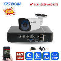 KRSHDCAM 4CH CCTV System 1080N 5in1 DVR 1080P AHD Camera 1pcs 3000TVL Waterproof Outdoor Security Home